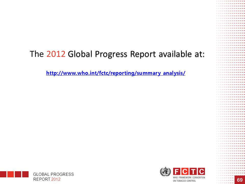 The 2012 Global Progress Report available at: