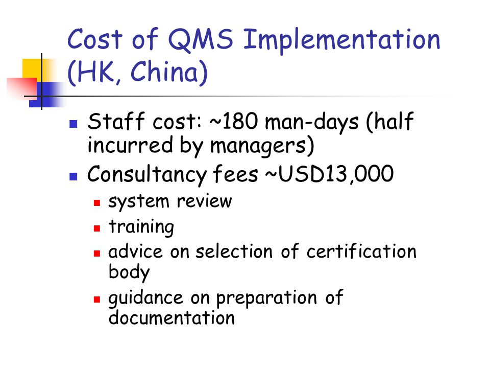 Cost of QMS Implementation (HK, China)