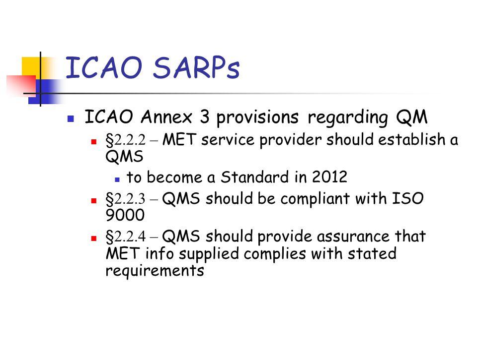 ICAO SARPs ICAO Annex 3 provisions regarding QM