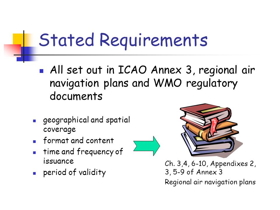 Stated Requirements All set out in ICAO Annex 3, regional air navigation plans and WMO regulatory documents.