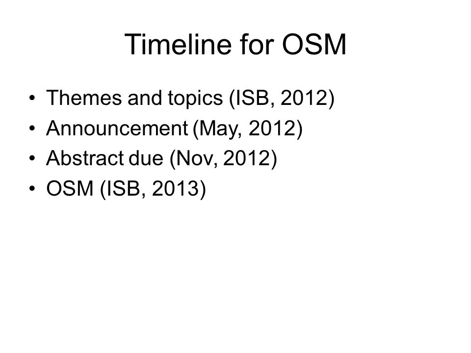 Timeline for OSM Themes and topics (ISB, 2012)