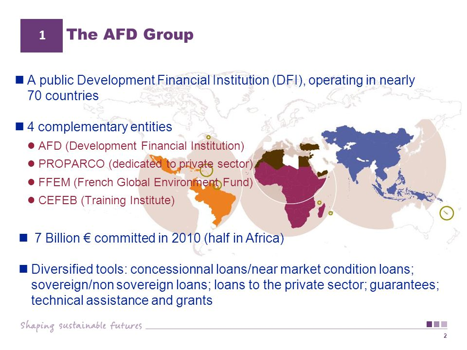 The AFD Group 1. A public Development Financial Institution (DFI), operating in nearly 70 countries.