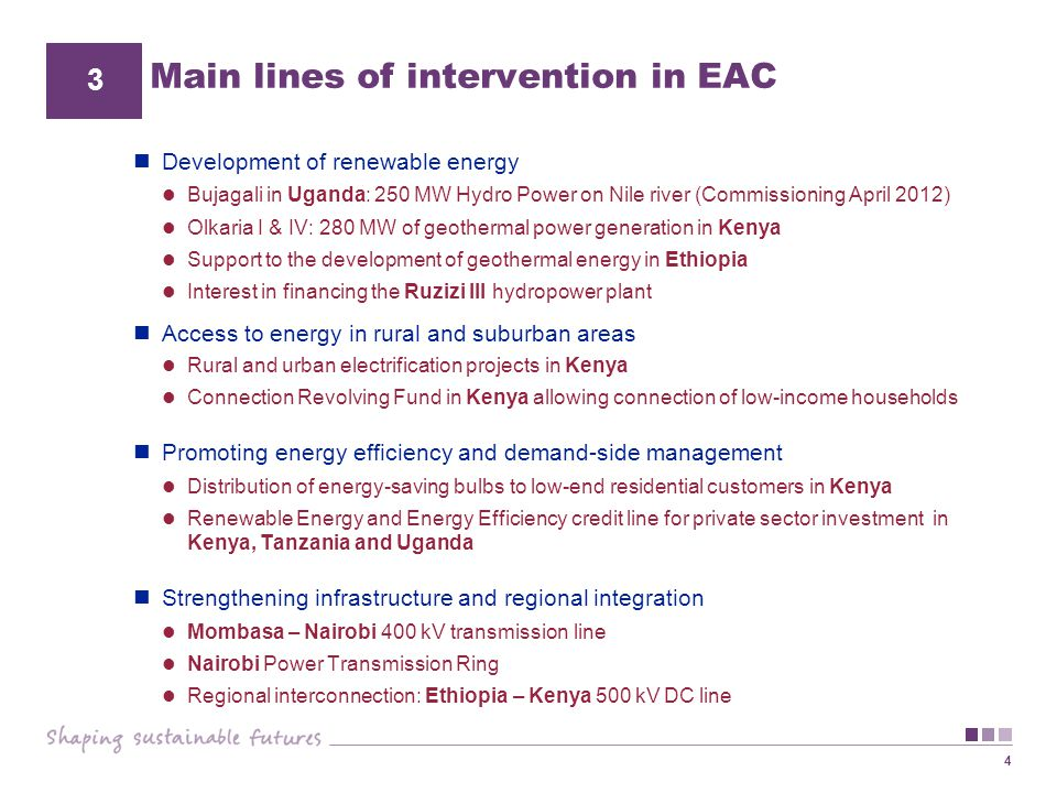 Main lines of intervention in EAC