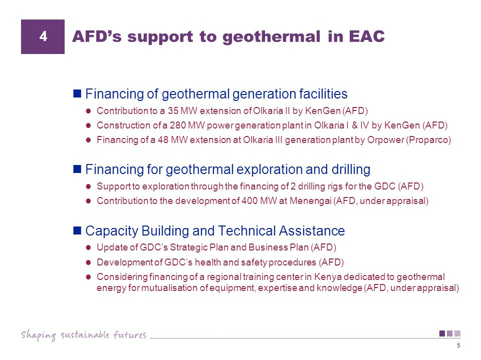 AFD's support to geothermal in EAC