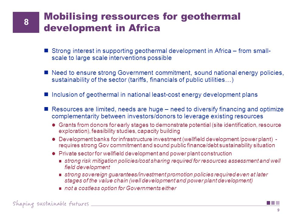 Mobilising ressources for geothermal development in Africa