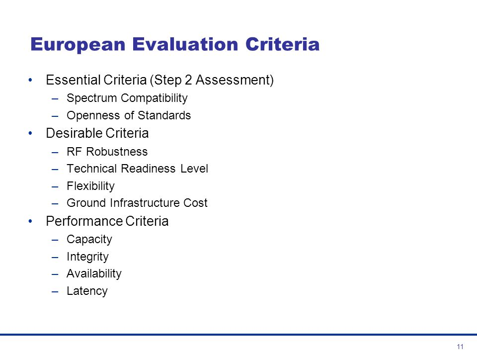 European Evaluation Criteria