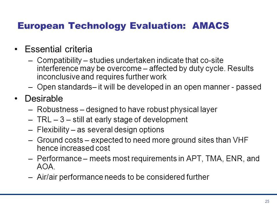 European Technology Evaluation: AMACS