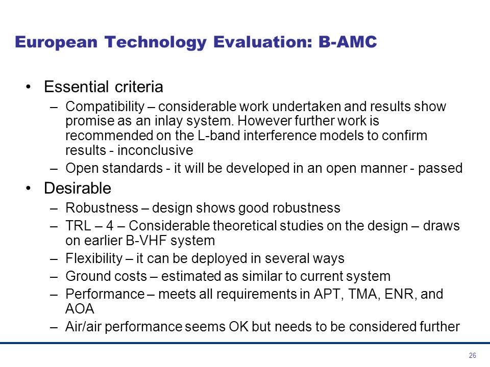 European Technology Evaluation: B-AMC