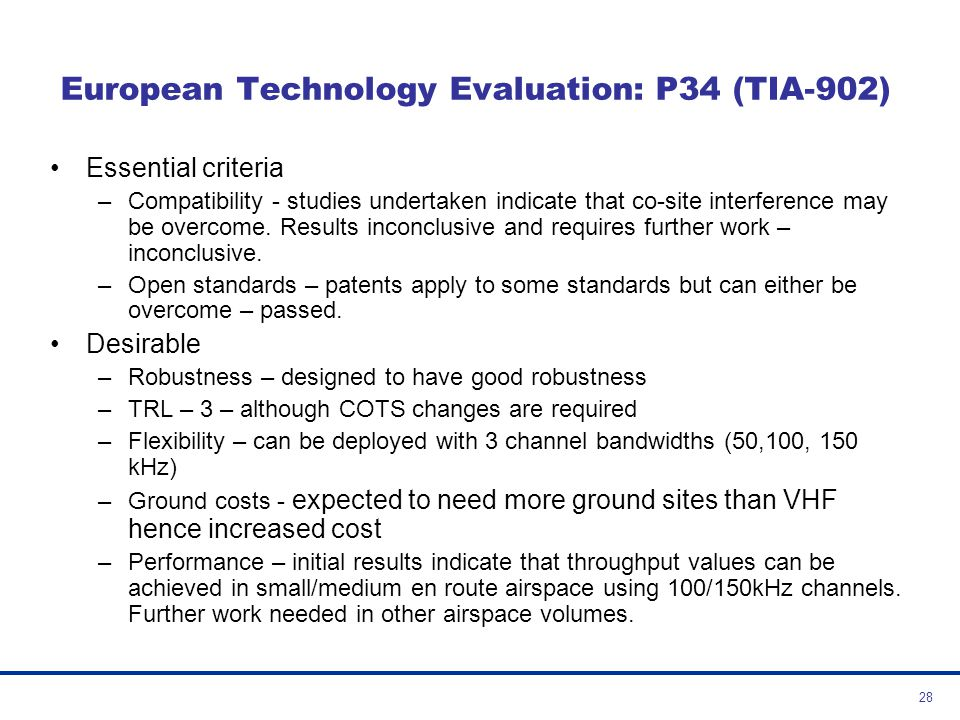 European Technology Evaluation: P34 (TIA-902)