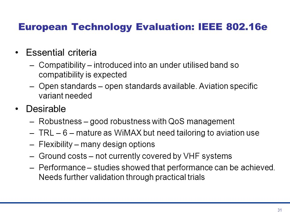 European Technology Evaluation: IEEE 802.16e