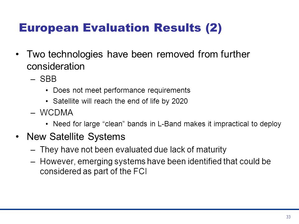 European Evaluation Results (2)