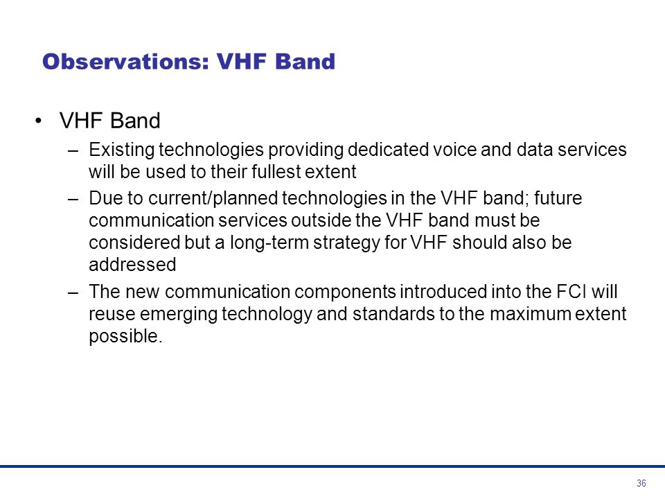 Observations: VHF Band