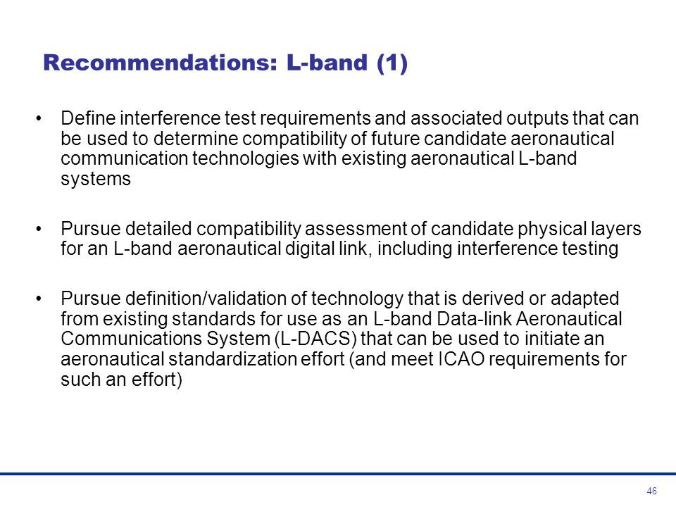 Recommendations: L-band (1)