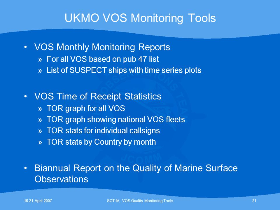 UKMO VOS Monitoring Tools