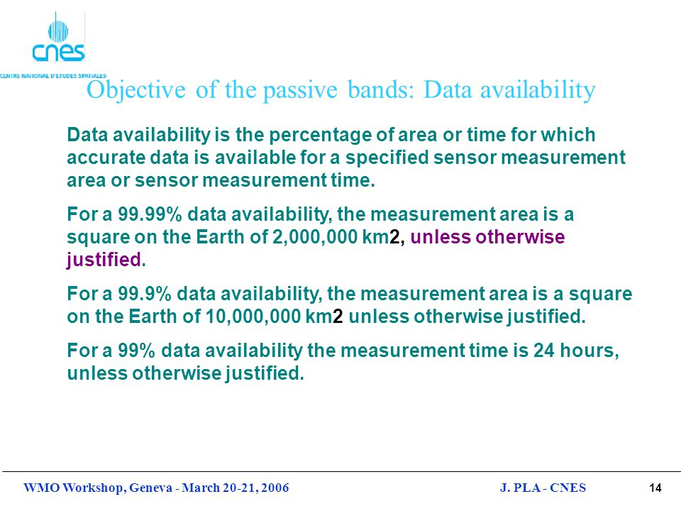 Objective of the passive bands: Data availability