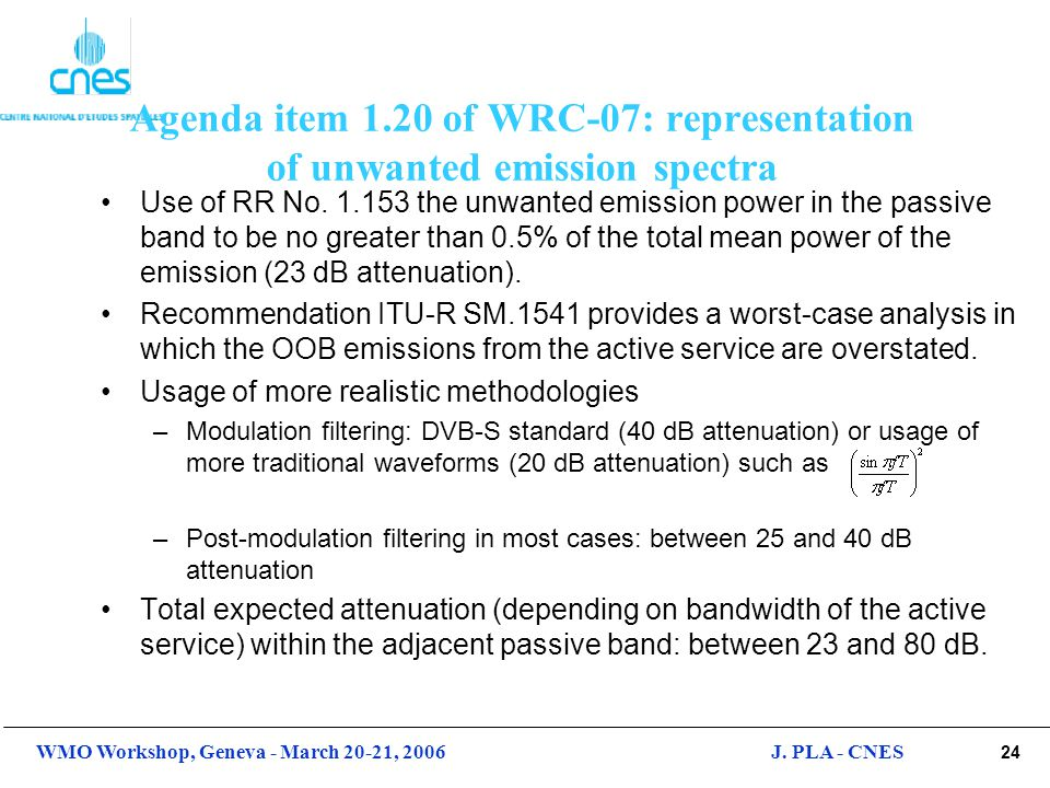 Agenda item 1.20 of WRC-07: representation of unwanted emission spectra