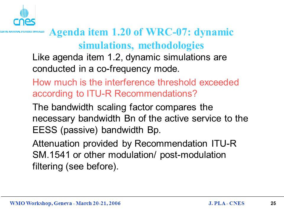 Agenda item 1.20 of WRC-07: dynamic simulations, methodologies