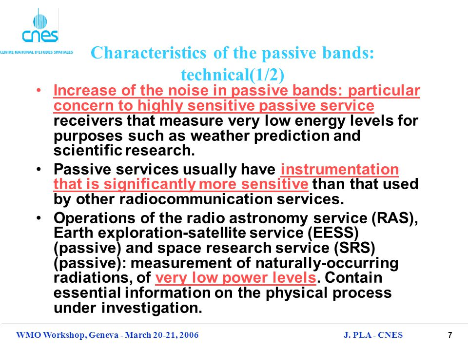 Characteristics of the passive bands: technical(1/2)