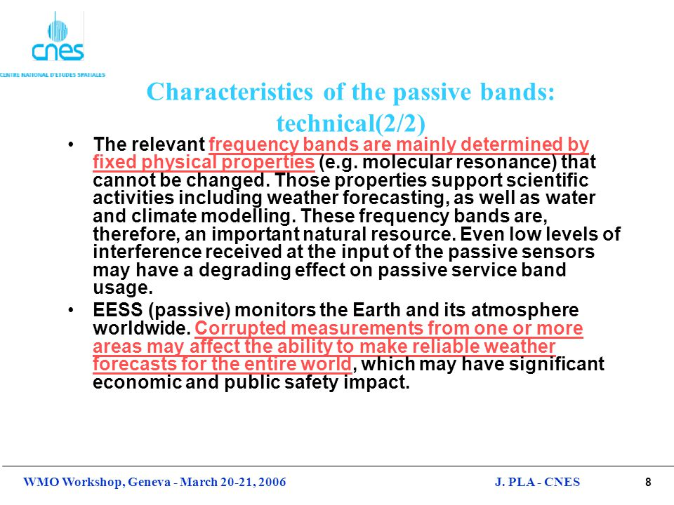 Characteristics of the passive bands: technical(2/2)