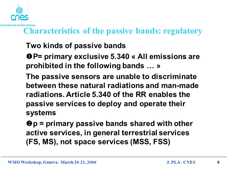 Characteristics of the passive bands: regulatory