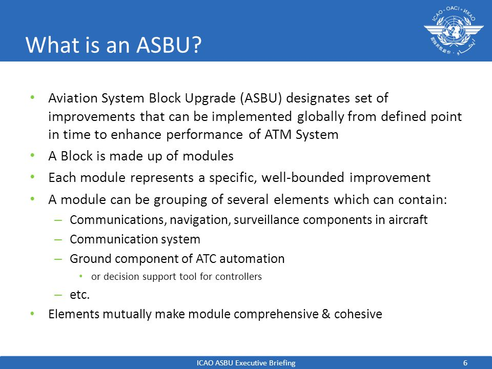 ICAO ASBU Executive Briefing