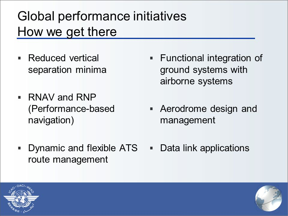 Global performance initiatives How we get there