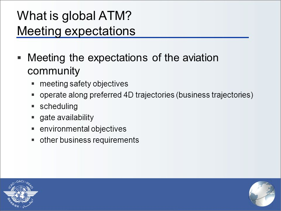 What is global ATM Meeting expectations