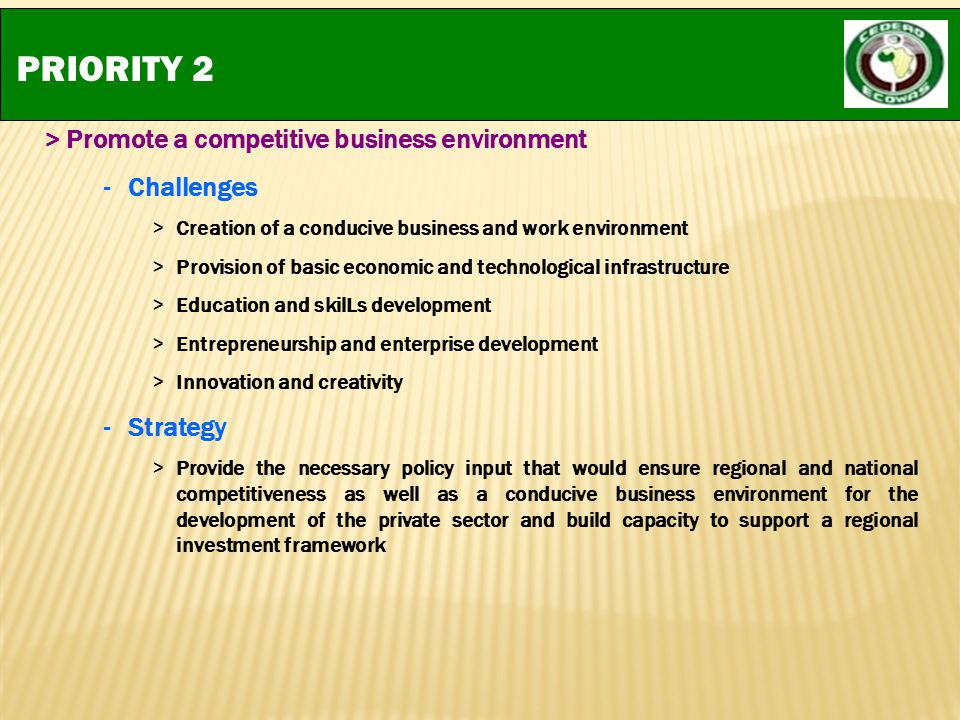PRIORITY 2 > Promote a competitive business environment Challenges