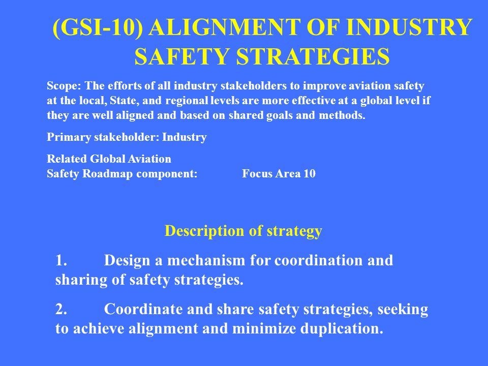 (GSI-10) ALIGNMENT OF INDUSTRY SAFETY STRATEGIES