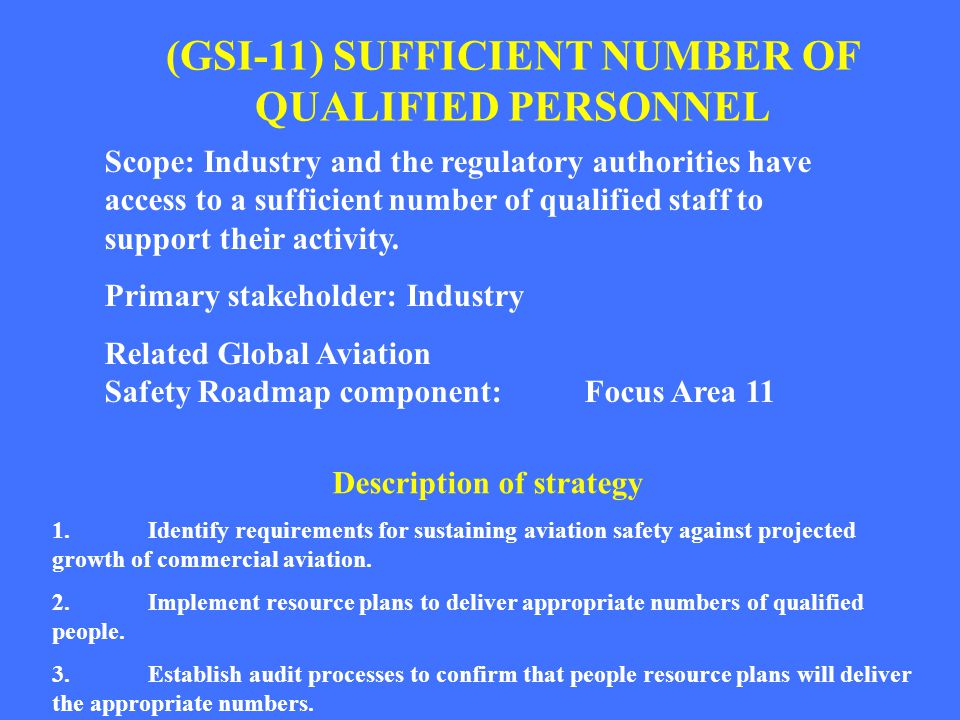 (GSI-11) SUFFICIENT NUMBER OF QUALIFIED PERSONNEL