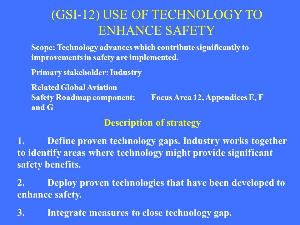(GSI-12) USE OF TECHNOLOGY TO ENHANCE SAFETY