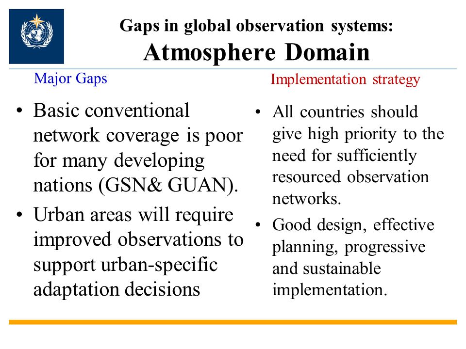 Gaps in global observation systems: Atmosphere Domain