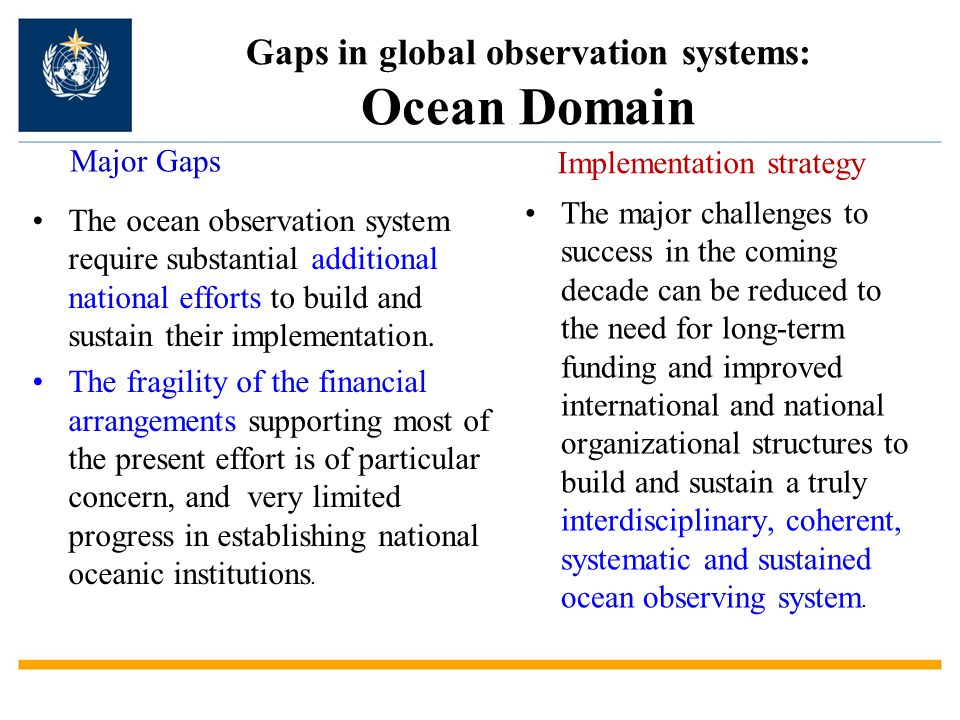 Gaps in global observation systems: Ocean Domain