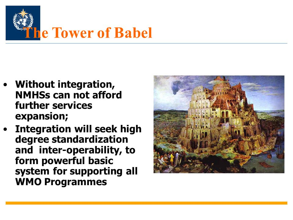 The Tower of Babel Without integration, NMHSs can not afford further services expansion;