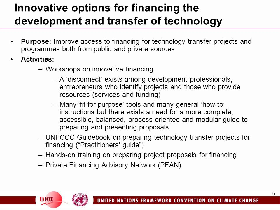 Innovative options for financing the development and transfer of technology