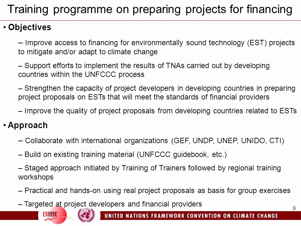 Training programme on preparing projects for financing