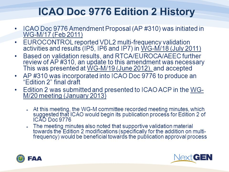 ICAO Doc 9776 Edition 2 History