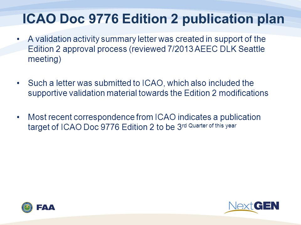 ICAO Doc 9776 Edition 2 publication plan