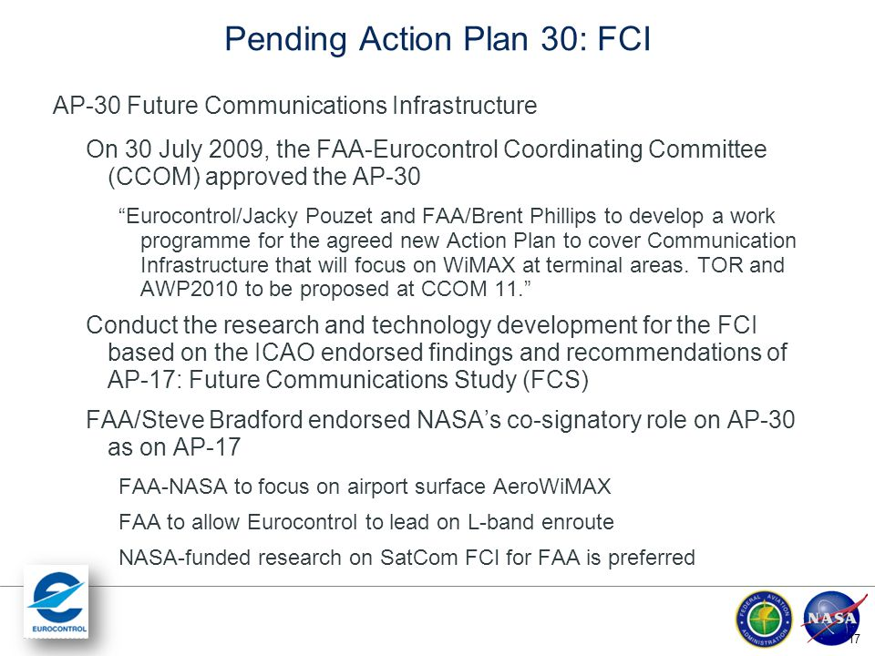 Pending Action Plan 30: FCI