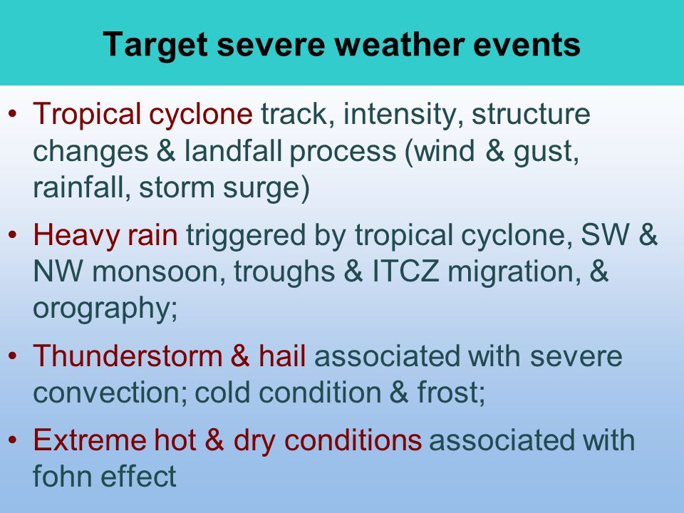 Target severe weather events