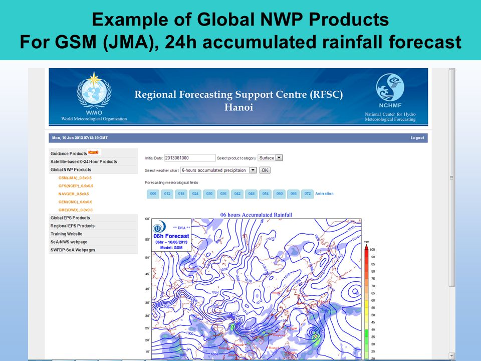 Example of Global NWP Products For GSM (JMA), 24h accumulated rainfall forecast