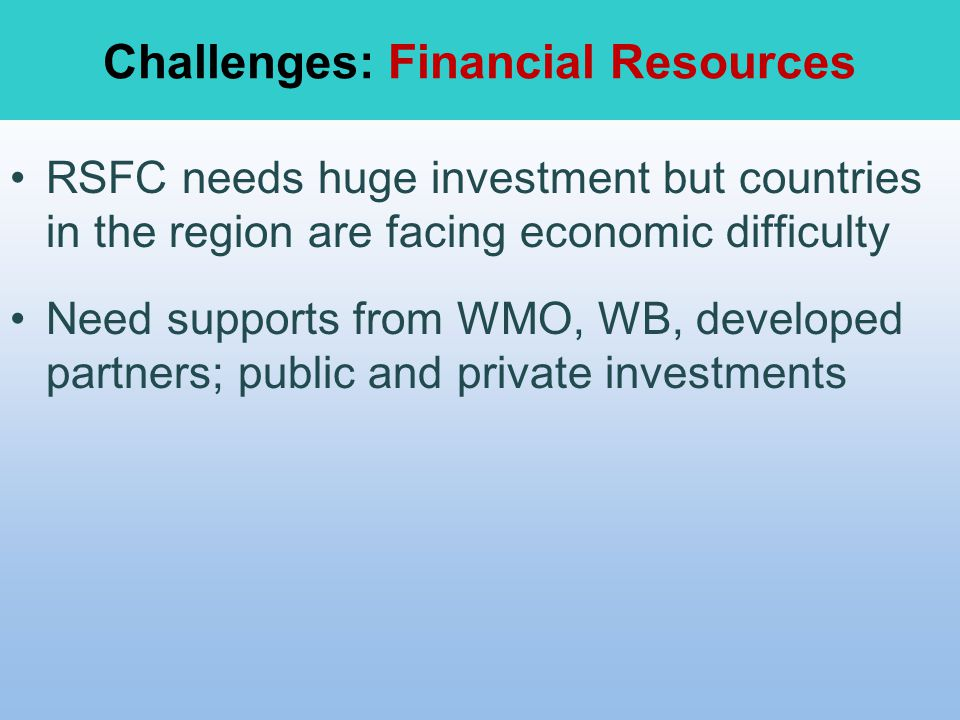 Challenges: Financial Resources