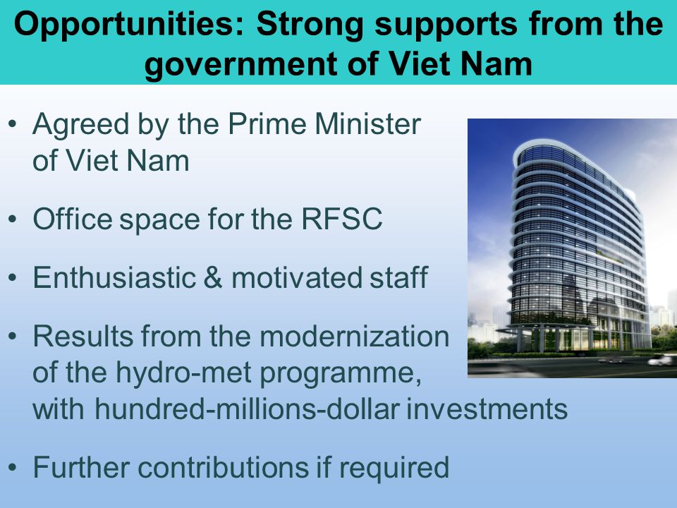 Opportunities: Strong supports from the government of Viet Nam