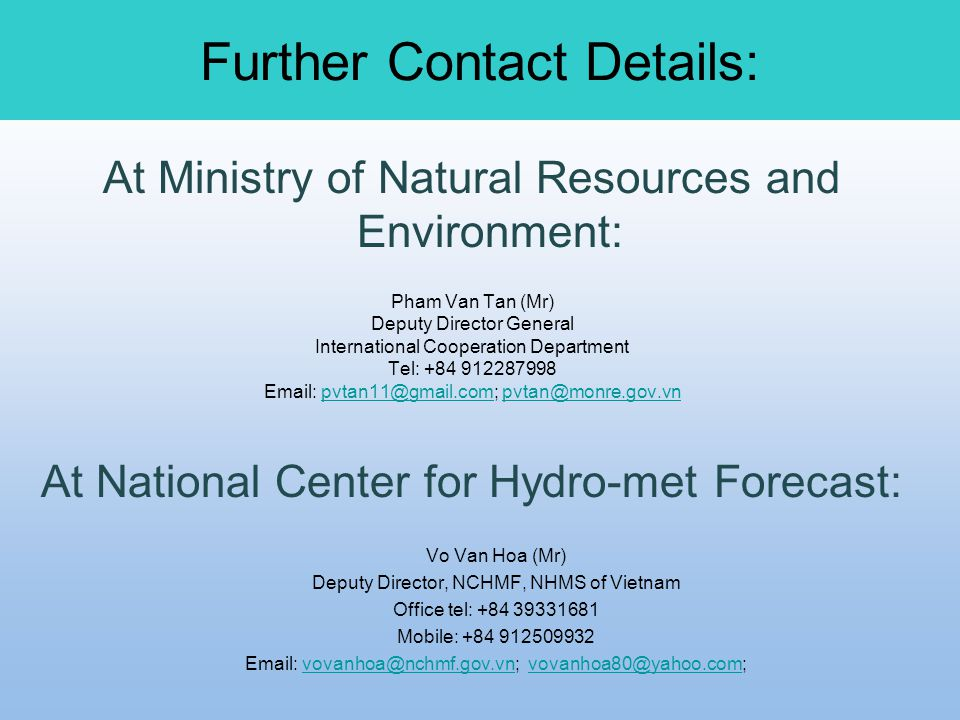 Further Contact Details: