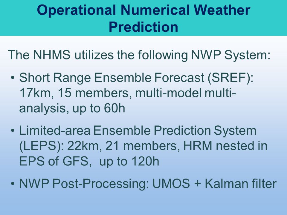 Operational Numerical Weather Prediction