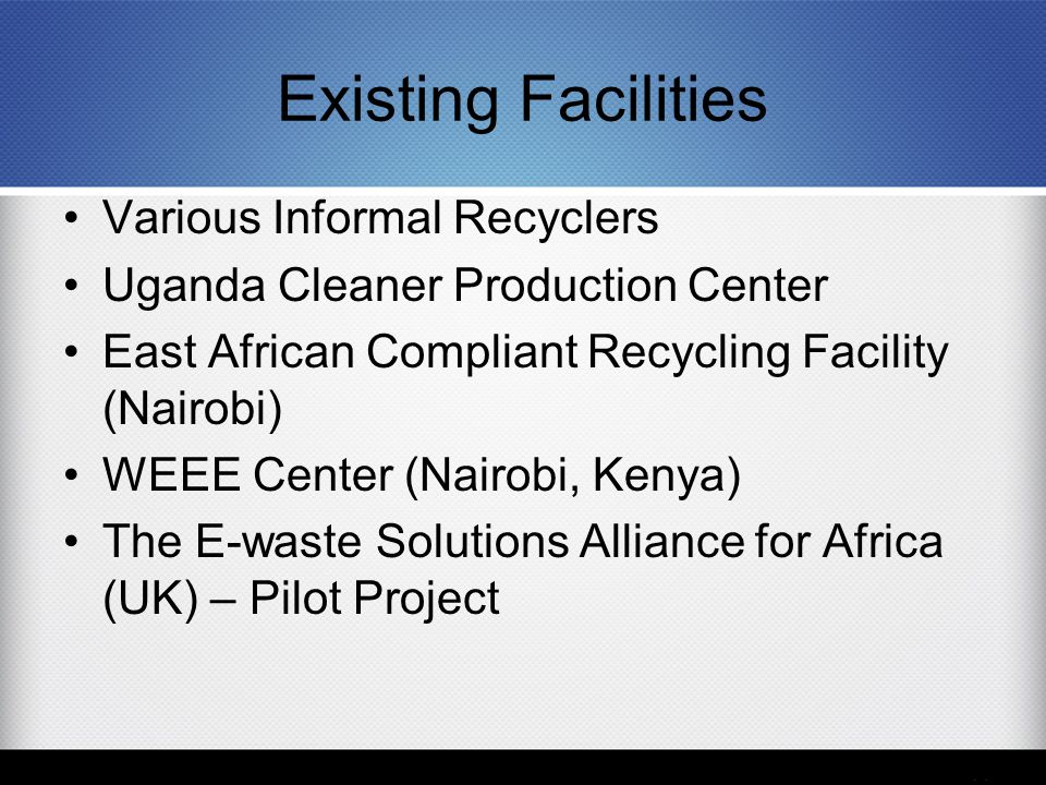 Existing Facilities Various Informal Recyclers