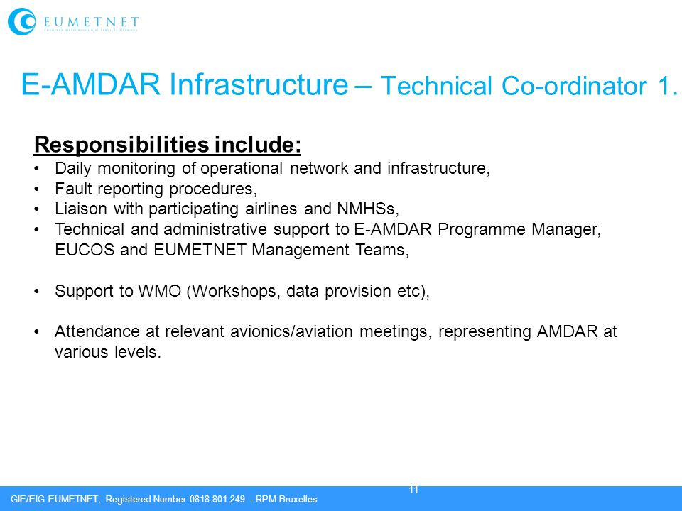 E-AMDAR Infrastructure – Technical Co-ordinator 1.
