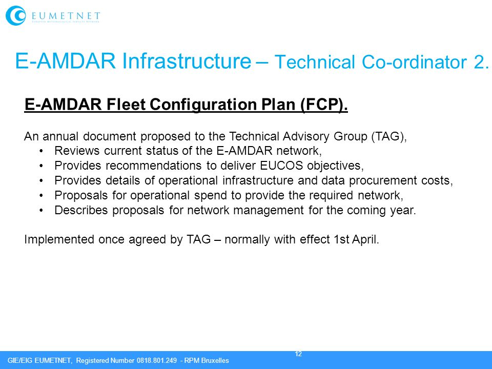 E-AMDAR Infrastructure – Technical Co-ordinator 2.