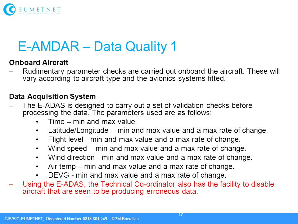 E-AMDAR – Data Quality 1 Onboard Aircraft