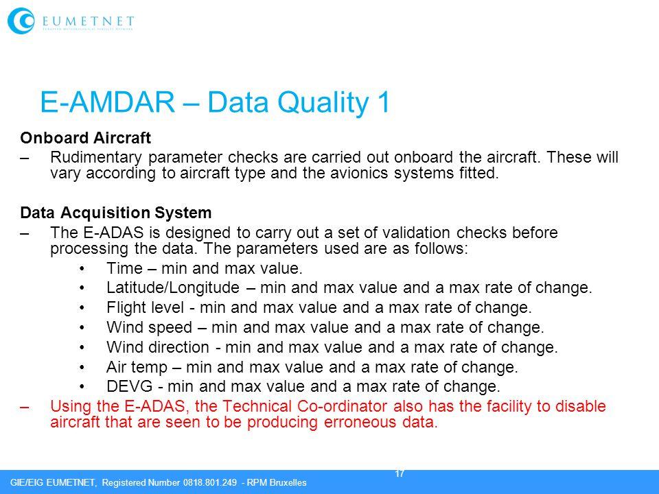 E-AMDAR – Data Quality 1 Onboard Aircraft